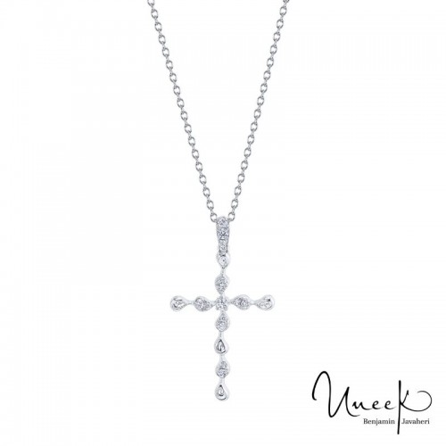 14K White Gold .12Dia Cross Necklace