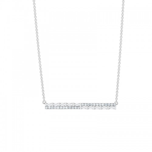 Uneek Diamond Necklace with Round and Baguette Diamonds, in 14K White Gold - LVNAD202W