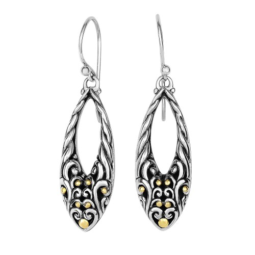 Silver And 18Kt Gold 29X7Mm Graduated Open Teardrop Filigree Earrings With Euro Wire