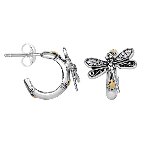 Silver And 18Kt Gold Half-Hoop Dragonfly Post Earrings With White Sapphire