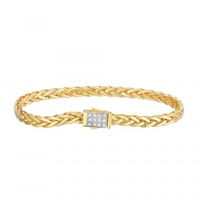 14K Gold 4.5Mm Woven Bracelet With Diamonds