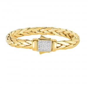 14K Gold 10Mm Bold Half Round Woven Bracelet With Diamonds