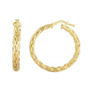 14K Gold Woven Half Round Hoop Earrings