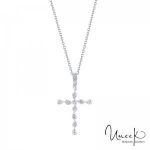 14K White Gold .12Dia Cross Necklace