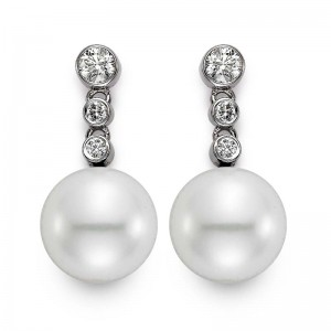 Mastoloni 11-11.5MM .50CTW DIAMOND AND CULTURED PEARL DROP EARRINGS