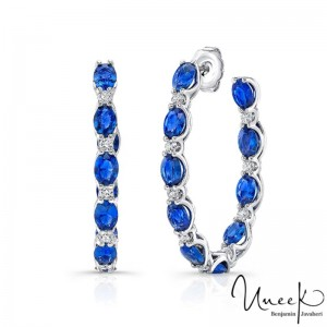 Uneek Blue Sapphire Hoop Earring, in 18K White Gold