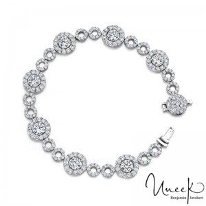 Uneek Round Diamond Bracelet with Micropave Halos and Circles, in 18K White Gold