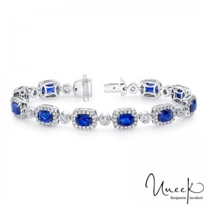 Uneek Cushion-Cut Sapphire Bracelet with Diamond Bezel Stations, in 18K White Gold