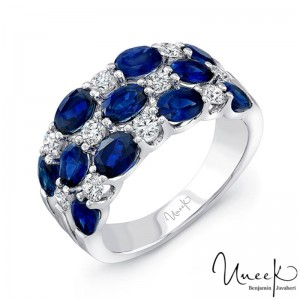 Uneek Three-Row Oval Blue Sapphire and Round Diamond Band, in 14K White Gold