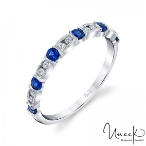 Uneek Blue Sapphire Fashion Ring, in 14K White Gold