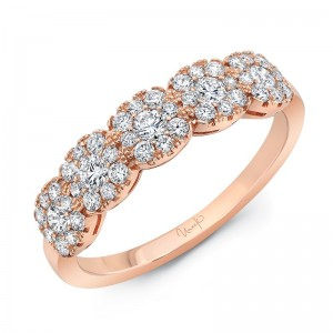 Uneek Diamond Band with Cushion-Shaped Clusters, in 14K Rose Gold