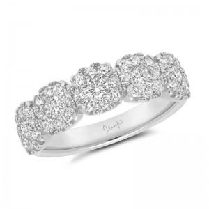 Uneek Diamond Anniversary Band with Cushion-Shaped Halos, in 14K White Gold