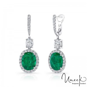 Uneek Green Emerald Earrings, in 18K White Gold