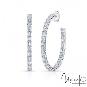 Uneek Emerald Cut Diamond Earrings, in 18K White Gold