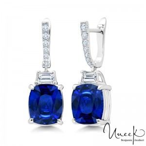 Uneek Cushion Cut Blue Sapphire Earrings, in 18K White Gold