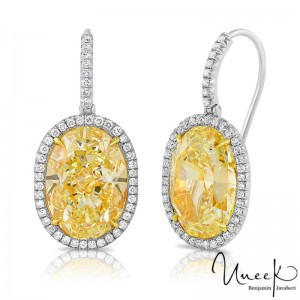 Uneek Oval Yellow Diamond Earrings, in Platinum and 18K Yellow Gold