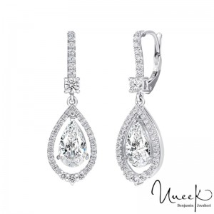 Uneek Pear Shaped Diamond Earrings, in 18K White Gold