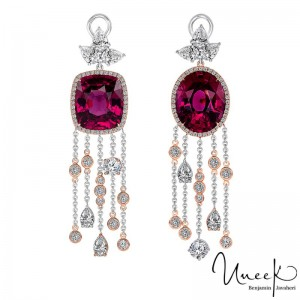 Uneek HeartStrings Earrings with Asymmetrical Oval-Cushion Rhodolite Garnet & Diamond, in 18K White & Rose Gold