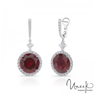 Uneek Rhodolite Earrings, in 18K White Gold