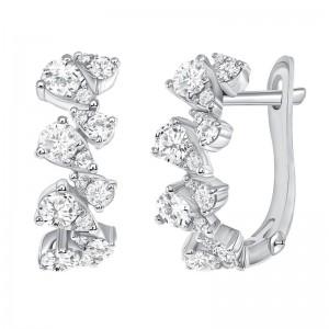 Uneek Diamond Earrings, in 14K White Gold