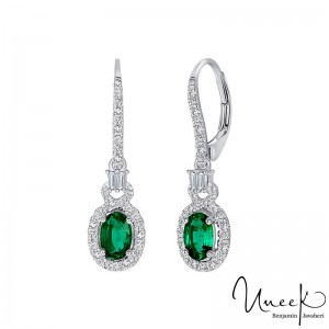 Uneek Oval Emerald Earrings, in 18K White Gold