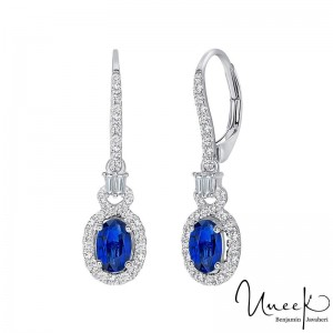 Uneek Oval Sapphire Earrings, in 18K White Gold