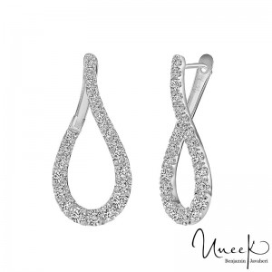 14K White Gold  1.40Ct Dia Hoop Earrings