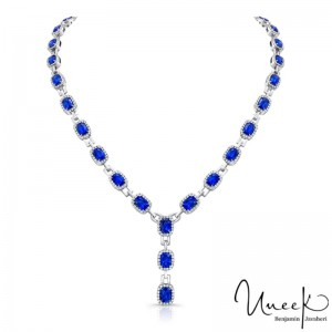Uneek Cushion-Cut Blue Sapphire Y Necklace in 18K White Gold