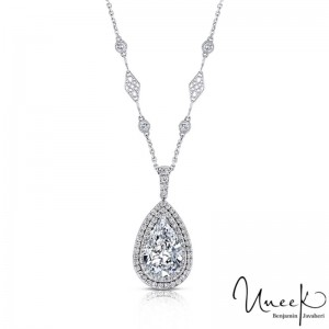 Uneek Double Halo Pear-Shaped Diamond Pendant with Filigree and Bezel Accent Chain, in Platinum
