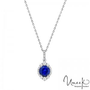 Uneek Round Blue Sapphire Pendant, in 18K White Gold