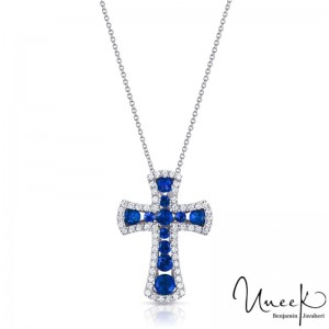 Uneek Sapphire-and-Diamond Cross Pendant in 14K White Gold
