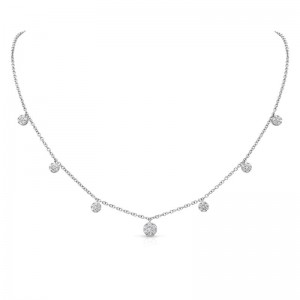 Uneek Cascade Collection Seven-Cluster Drop Necklace in 14K White Gold