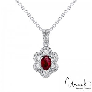 Uneek Oval Ruby Pendant, in 18K White Gold