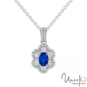 Uneek Oval Blue Sapphire Pendant, in 18K White Gold