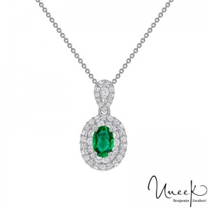 Uneek Oval Emerald Pendant, in 18K White Gold