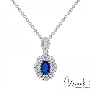 Uneek Oval Blue Sapphire Pendant, in 18K White Gold