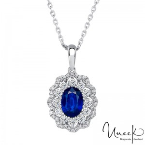 Uneek Oval Pendant, in 18K White Gold