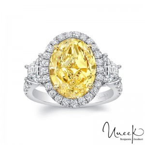 Uneek Contemporary Oval Fancy Yellow Diamond-Center Three-Stone Engagement Ring, in Platinum and 18K Yellow Gold