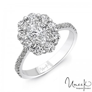 Uneek Oval Diamond Engagement Ring Petals Collection Round Diamond Halo, in 18K White Gold