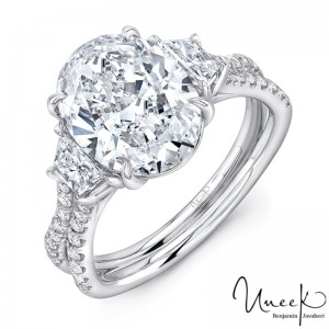 Uneek Oval-Center Classic Three-Stone Engagement Ring with Pave