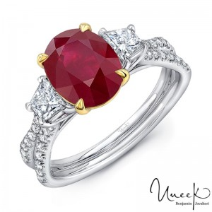 Uneek Ruby-and-Diamond Three-Stone Ring with Oval Ruby Center and Pave