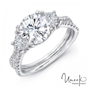 Uneek Round-Center Classic Three-Stone Engagement Ring with Pave