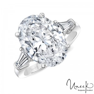 Uneek Oval White Diamond Engagement Ring, in Platinum