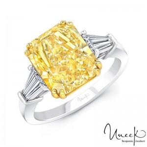 Uneek Radiant Fancy Yellow Diamond Engagement Ring, in Platinum