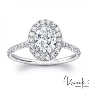 Uneek Classic Oval Diamond Halo Pave Engagement Ring, in 14K White Gold