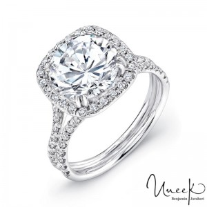 Uneek 3-Carat Round Diamond Engagement Ring with Cushion-Shaped Halo and Pave Double Shank, in 14K White Gold