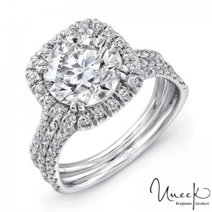 Uneek Round Diamond Engagement Ring with Cushion-Shaped Halo and Pave Triple Shank, in 14K White Gold