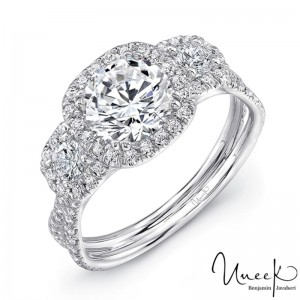 Uneek Split Shank Three Stone Pave Diamond Halo Engagement Ring - LVS921-6.5RD