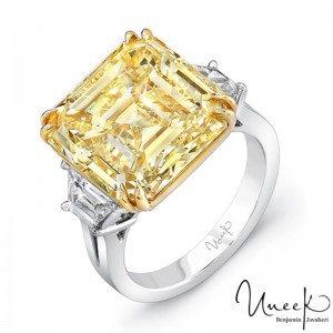 Uneek Asscher Fancy Yellow Diamond Engagement Ring, in Platinum