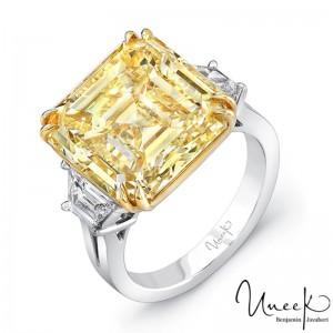 Uneek Asscher Fancy Yellow Diamond Engagement Ring, in Platinum